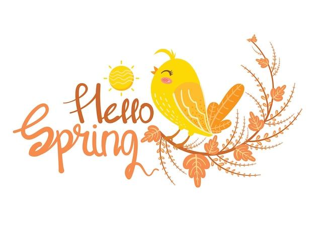 Niedlicher vogel und blatt hallo frühlingskartenillustration