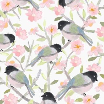 Niedlicher vogel und rosa blumen mit grünem blattmuster.