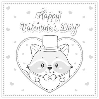 Niedlicher waschbär, der die große herzskizze des glücklichen valentinstag-zeichnungspostkartens zum färben zeichnet