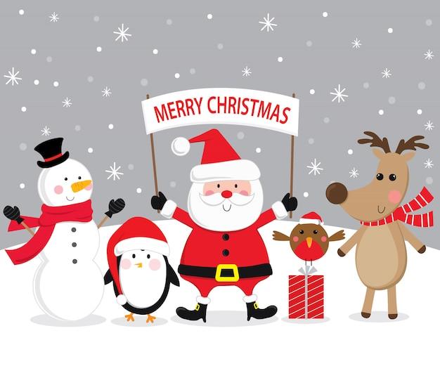 Niedlicher weihnachtscharakter, weihnachtsmann, ren, schneemann, pinguin und abfallrotkehlchen beim schneien