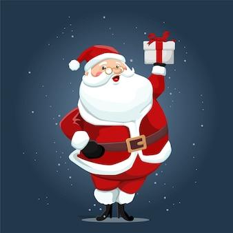 Niedlicher weihnachtsmann, der geschenkboxillustration hält
