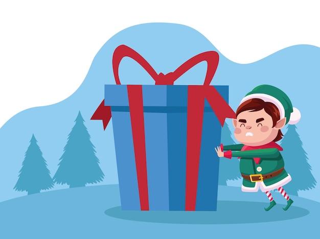 Niedlicher weihnachtsmann-helfer-weihnachtscharakter mit blauem geschenk in schneelandschaftsillustration