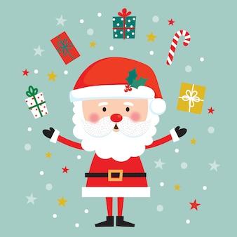 Niedlicher weihnachtsmann und irgendein weihnachtsgeschenk, niedlicher weihnachtscharakter