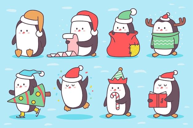 Niedlicher weihnachtspinguincharakter-karikatursatz lokalisiert auf hintergrund.