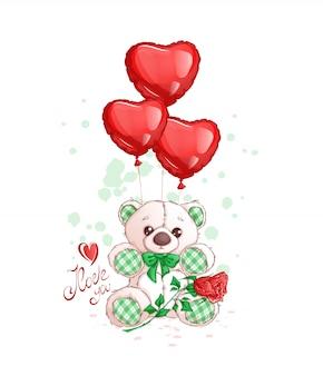 Niedlicher weißer teddybär mit gewebeakzenten, roten herzballonen, einer rose und handgeschriebener aufschrift