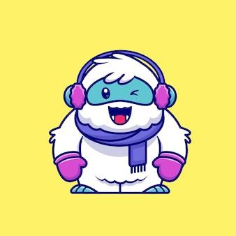 Niedlicher yeti, der schal, handschuh und ohrenschützer-karikatur-symbol-illustration trägt. tierwinter-symbol-konzept isoliert. flacher cartoon-stil