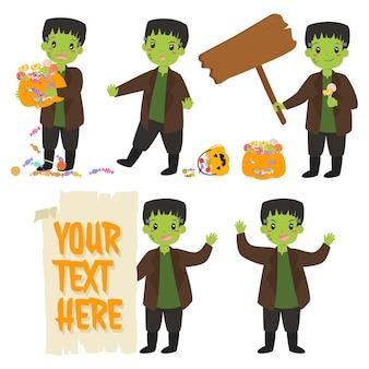 Niedlicher zombie frankenstei und halloween-elemente-vektor-set