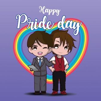 Niedlicher zwei lesbischer cartooncharakter. glücklicher stolztag.