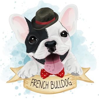 Niedliches aquarell der französischen bulldogge