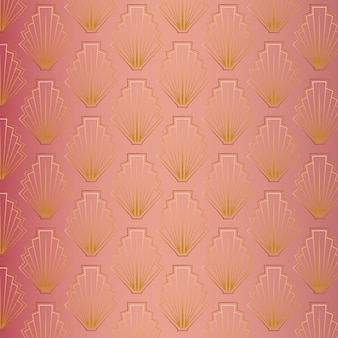 Niedliches art-deco-muster aus roségold