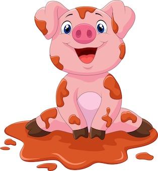 Niedliches babyschwein der karikatur