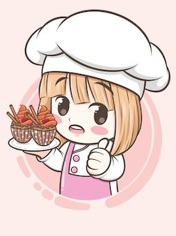 Niedliches bäckereikochmädchen, das einen cupcake hält - zeichentrickfigur und logoillustration