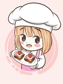 Niedliches bäckereikochmädchen, das einen erdbeerkuchen hält - zeichentrickfigur und logoillustration