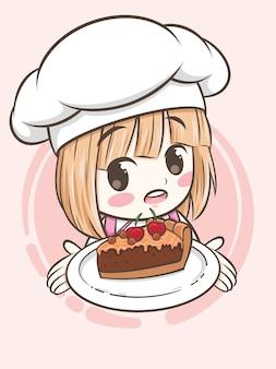Niedliches bäckereikochmädchen, das einen schokoladenkuchen-kuchen hält - zeichentrickfigur und logoillustration
