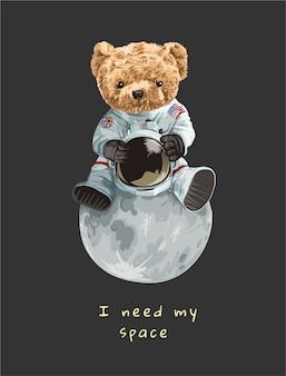 Niedliches bärenspielzeug im astronautenkostüm, das auf der mondillustration sitzt