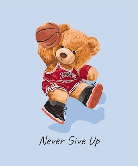 Niedliches bärenspielzeug in der athletischen artillustration des basketballs