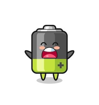 Niedliches batterie-maskottchen mit einem gähnen-ausdruck, süßes design für t-shirt, aufkleber, logo-element