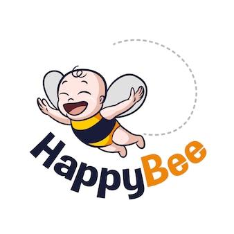 Niedliches cartoon-baby-bienen-maskottchen-logo
