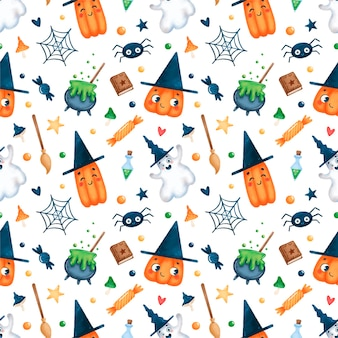 Niedliches cartoon-halloween-magie nahtloses muster