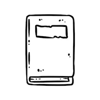 Niedliches cartoon-notizbuch-doodle-bild-logo. medien hebt grafisches symbol hervor