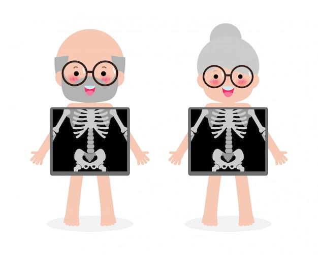 Niedliches cartoon-seniorenpaar mit röntgenbildschirm, der innere organe und skelett zeigt. röntgenkontrollknochen alte leute, element der pädagogischen infografikenillustration lokalisiert auf weißem hintergrund