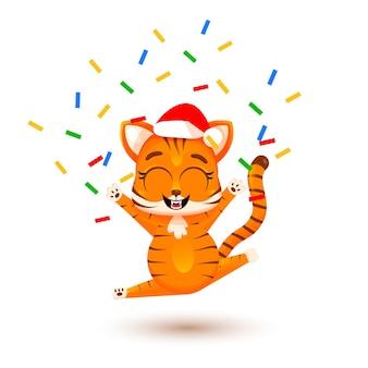 Niedliches cartoon-tigerjunges freut sich mit konfetti und feuerwerk. weihnachtskonzept, chinesisches neujahr, symbol von 2022. modischer aufkleber. weihnachtskarte. vektorillustration lokalisiert auf weißem hintergrund.
