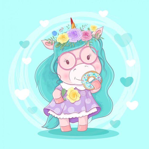 Niedliches cartoon unirog mädchen in einem kranz von blumen und von donut mit zuckerglasur.