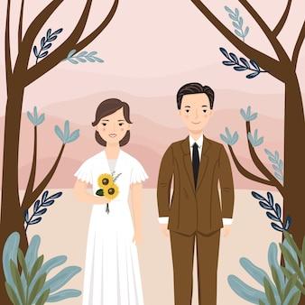 Niedliches cartoonpaar braut und bräutigam