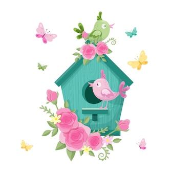 Niedliches cartoonvogelhaus mit vögeln und rosen für valentinstag. illustration