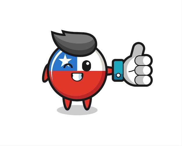 Niedliches chile-flaggenabzeichen mit social-media-daumen hoch symbol, niedliches design für t-shirt, aufkleber, logo-element