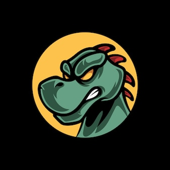 Niedliches dino-kopf-maskottchen-logo