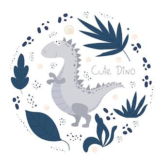 Niedliches dino-plakat mit einem lustigen dinosaurier und einer beschriftung.