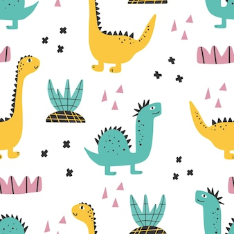 Niedliches dinosauriermuster - handgezeichneter kindischer dinosaurier nahtloses druckdesign digitales papier