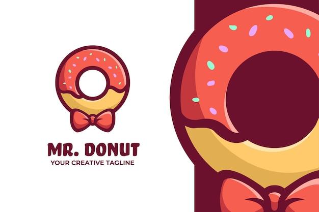 Niedliches donut-maskottchen-charakter-logo