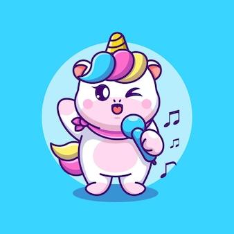 Niedliches einhorn singt cartoon-design
