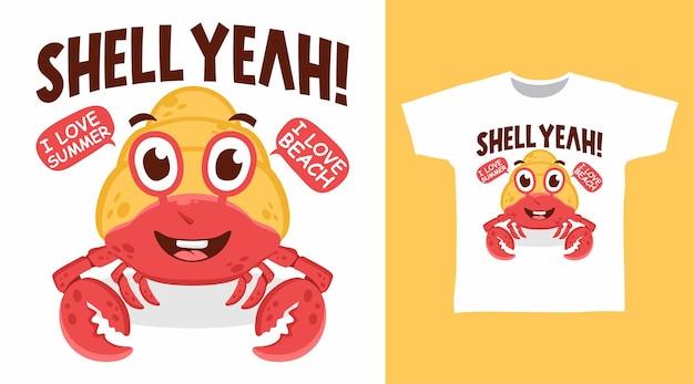 Niedliches einsiedlerkrebs-illustrations-t-shirt-design