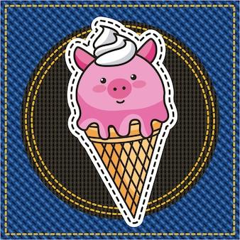 Niedliches eiscreme-schweinflecken-denim modisch