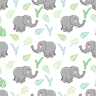 Niedliches elefanten nahtloses muster