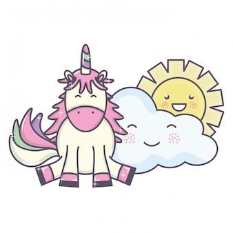 Niedliches entzückendes einhorn und wolken und sonne kawaii charaktere