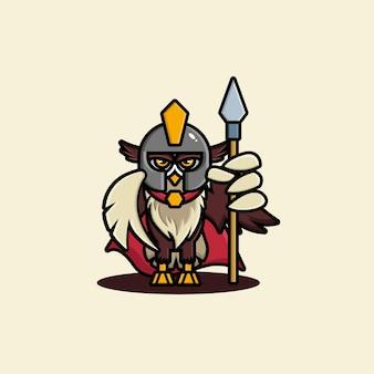 Niedliches eulen-gladiator-charakterdesign