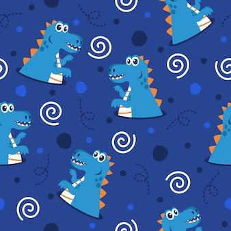 Niedliches fettes dinosauriermuster-illustrationsdesign