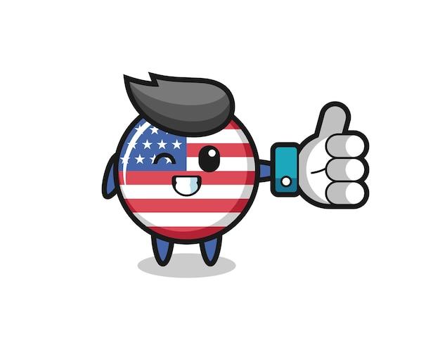 Niedliches flaggenabzeichen der vereinigten staaten mit social-media-daumen hoch symbol, niedliches design für t-shirt, aufkleber, logo-element