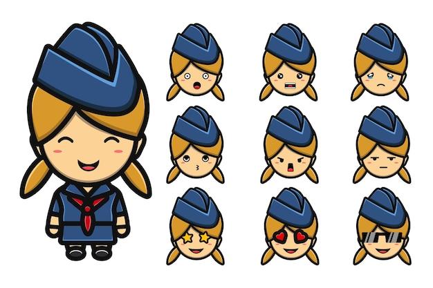 Niedliches flugbegleiter-maskottchen-cartoon-set