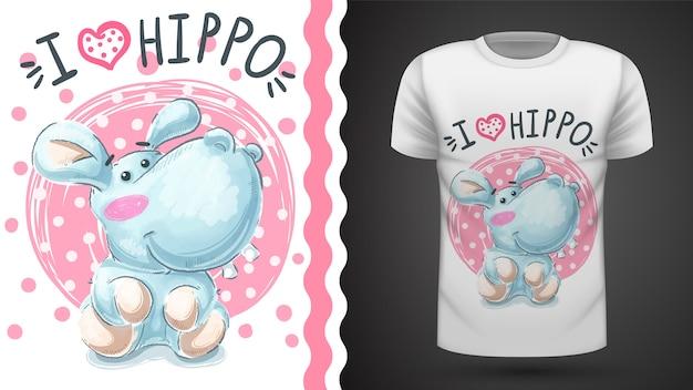 Niedliches flusspferd, nilpferd - idee für druckt-shirt