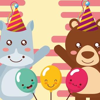 Niedliches flusspferd und bärentiere lustige feier ballons