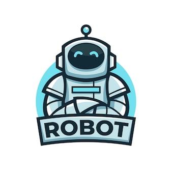 Niedliches freundliches blaues robotermaskottchenlogo mit verschränkter armhaltung Premium Vektoren