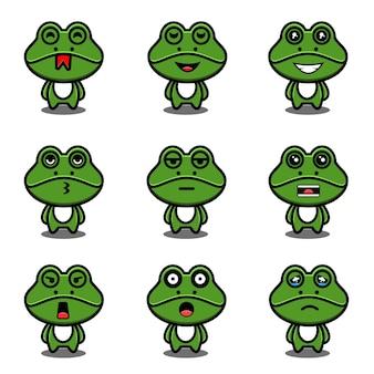Niedliches frosch-maskottchen-cartoon-set