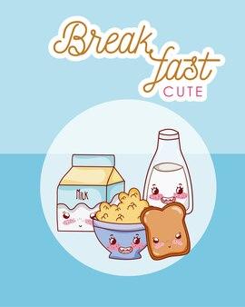 Niedliches frühstück kawaii cartoon