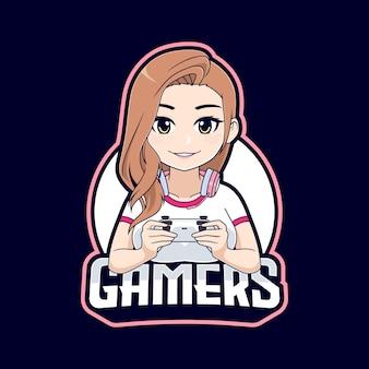 Niedliches gamer-mädchen-cartoon-charakter-maskottchen-logo
