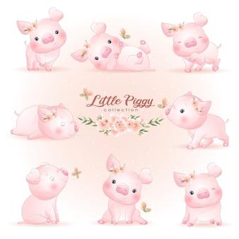 Niedliches gekritzelschweinchen wirft mit blumenillustration auf